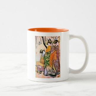 Japanese Engraving Three Geisha 1911 Mugs