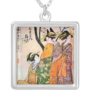 Japanese Engraving Three Geisha 1911 Necklace