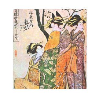 Japanese Engraving Three Geisha 1911 Notepad