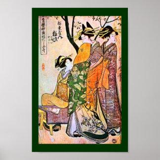Japanese Engraving Three Geisha 1911 Poster