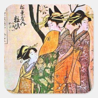 Japanese Engraving Three Geisha 1911 Square Sticker