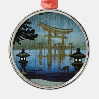 Japanese Evening Rain Woodblock Art Ukiyo-e Christmas Ornament