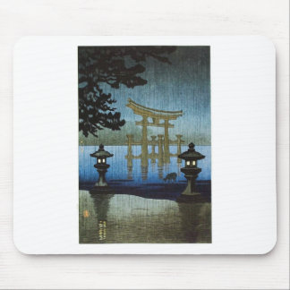 Japanese Evening Rain Woodblock Art Ukiyo-e Mouse Mat
