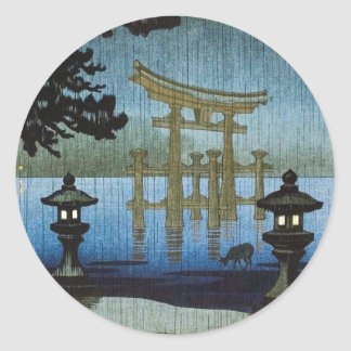 Japanese Evening Rain Woodblock Art Ukiyo-e Round Sticker