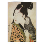 Japanese Falconer in a Kimono Vintage Art Greeting Card