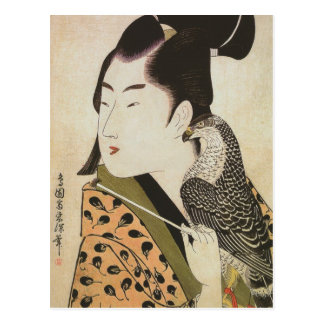 Japanese Falconer in a Kimono Vintage Art Postcard