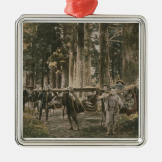 Japanese family being carried in litters, c.1880s christmas ornament
