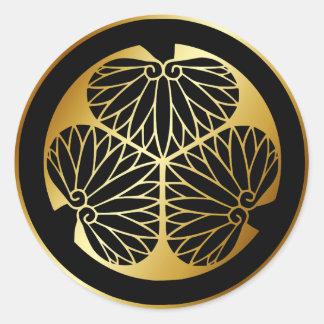 Japanese Family Crest KAMON Symbol Round Sticker