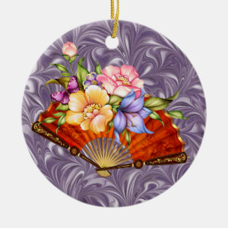 Japanese Fan 2 - SRF Double-Sided Ceramic Round Christmas Ornament