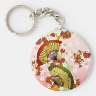Japanese Fan 3 Basic Round Button Key Ring