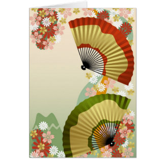 Japanese Fan 3 green Greeting Card