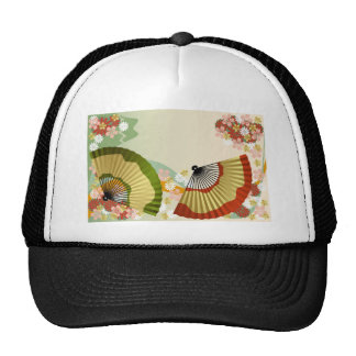 Japanese Fan 3 green Hats