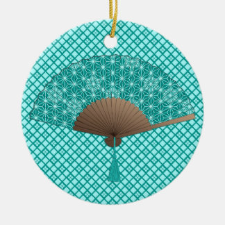 Japanese Fan in Asanoha pattern, Turquoise Christmas Ornament