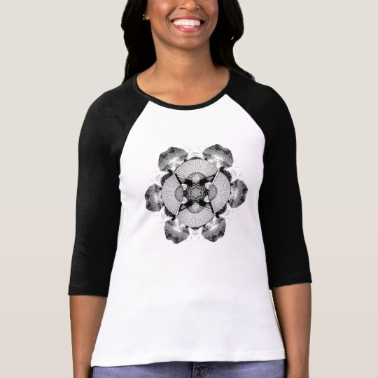 Japanese Fan Mandala T-Shirt (Monochrome)