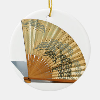 Japanese Fan Round Ceramic Decoration