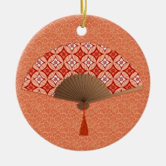 Japanese Fan, Shippo Motif, Mandarin Orange Christmas Ornament