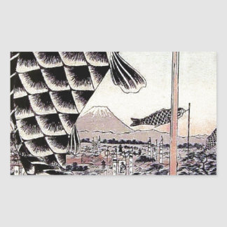 Japanese Fish Kite Carp Print Rectangular Sticker
