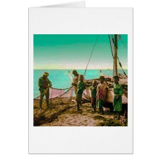 Japanese Fishermen Prepare Their Nets in Old Japan Greeting Card