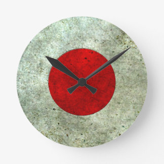Japanese Flag Aged Steel Effect Wall Clock
