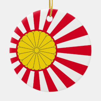 Japanese Flag And Inperial Seal Round Ceramic Decoration