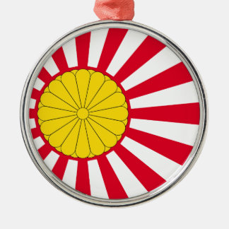 Japanese Flag And Inperial Seal Silver-Colored Round Decoration