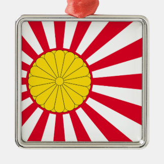 Japanese Flag And Inperial Seal Silver-Colored Square Decoration