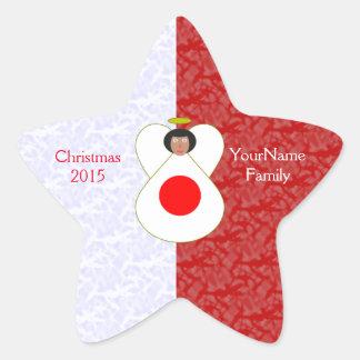 Japanese Flag Angel Red White Star Sticker