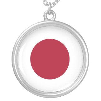 Japanese Flag Design Round Silver Necklace