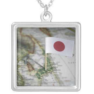Japanese flag in map silver plated necklace