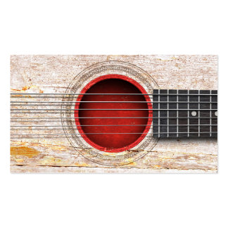 Japanese Flag on Old Acoustic Guitar Business Cards