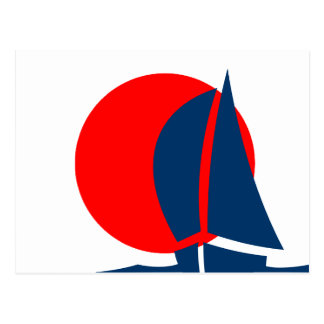 Japanese Flag Sailing Boat Japan Nautical Postcard