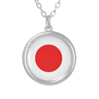 Japanese Flag Silver Plated Necklace