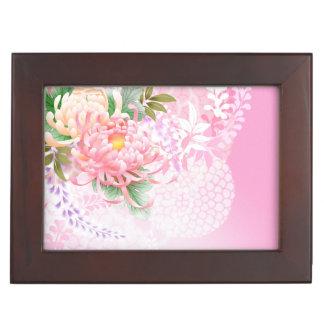 Japanese Floral Art Mums Pink White Green box Memory Box