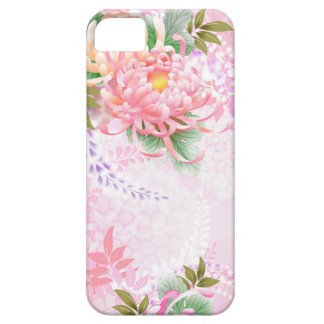 Japanese Floral Art Mums Pink White Green iPhone 5 Cover