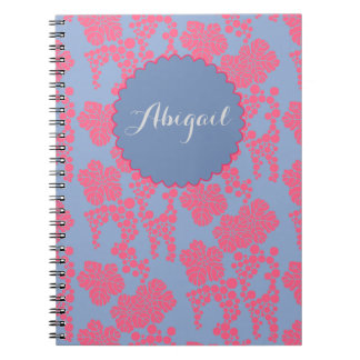 Japanese Floral Print - Pink Personalized Notebook