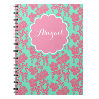 Japanese Floral Print Pink Personalized Notebook