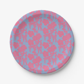 Japanese Floral Print - Pink & Purple Paper Plate