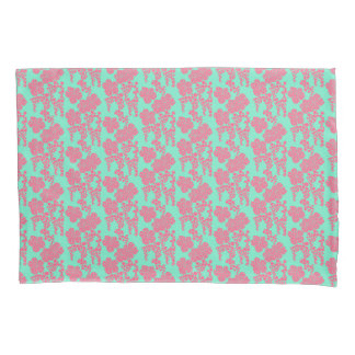 Japanese Floral Print - Pink & Teal Pillowcases