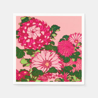 Japanese Flower Border, Fuchsia and Coral Pink Disposable Serviette