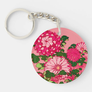 Japanese Flower Border, Fuchsia and Coral Pink Key Ring