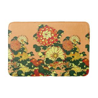 Japanese Flower Border, Mandarin Orange and Gold Bath Mat