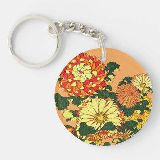 Japanese Flower Border, Mandarin Orange and Gold Key Ring