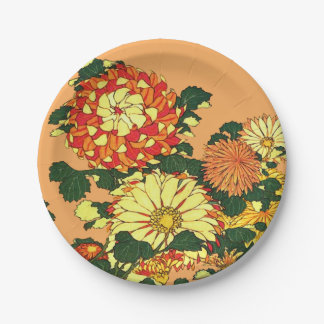 Japanese Flower Border, Mandarin Orange and Gold Paper Plate