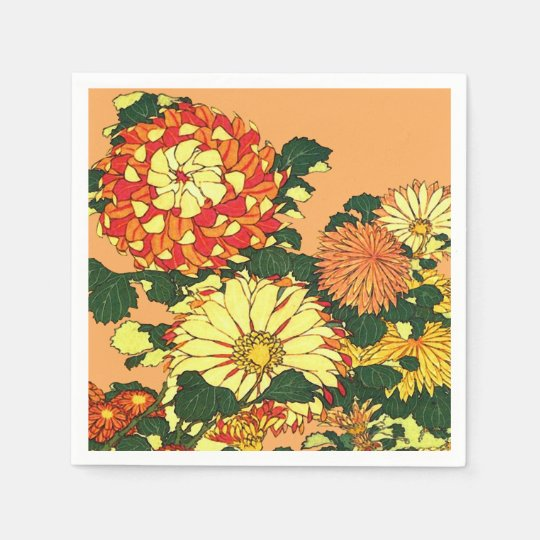 Japanese Flower Border, Mandarin Orange and Gold Paper