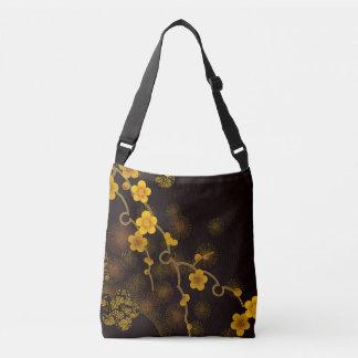 Japanese Flower Design Crossbody Bag