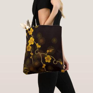 Japanese Flower Design Tote Bag