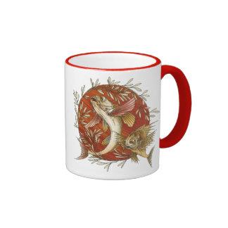 Japanese Flying Fish, Vintage Marine Life Ringer Mug