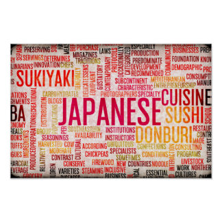 Japanese Food and Cuisine Menu Background Poster