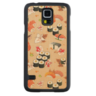 Japanese Food: Sushi Pattern 3 Carved Maple Galaxy S5 Case