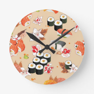 Japanese Food: Sushi Pattern 3 Round Clock